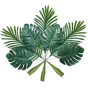 Artificial Palm Leaves with Stem and Tropical Philodendron Monstera Fronds Party Decorations Faux Palm Tree Plant Leaf Fake Imitation Ferns Branches Home Kitchen Plastic Decor 20 Pieces AF49 70