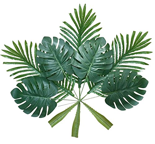 (ShoppeWatch Artificial Palm Leaves with Stem (20 Pcs) Tropical Philodendron Monstera Fronds Party Decorations Faux Palm Tree Plant Leaf Fake Imitation Ferns Branches Home Kitchen Plastic Decor AF49 )