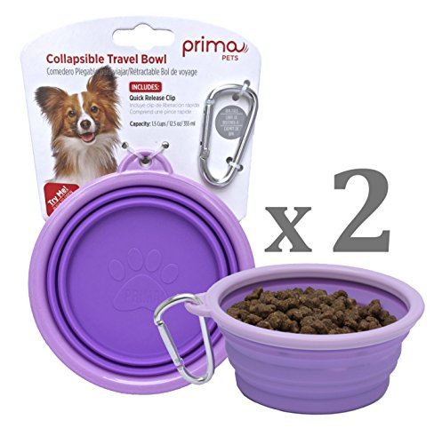 SALE: Prima Pet Collapsible Silicone Water Travel Bowl with Clip for Dog and Cat, Portable and Durable Pop-up Feeder for Convenient On-the-go Feeding – Size: SMALL (1.5 Cups) PURPLE – 2 PACK