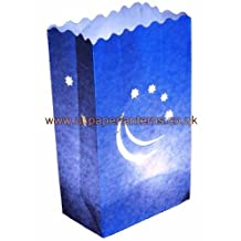 Blue Smiling Moon Candle Paper Bag Lantern Luminaire x 10