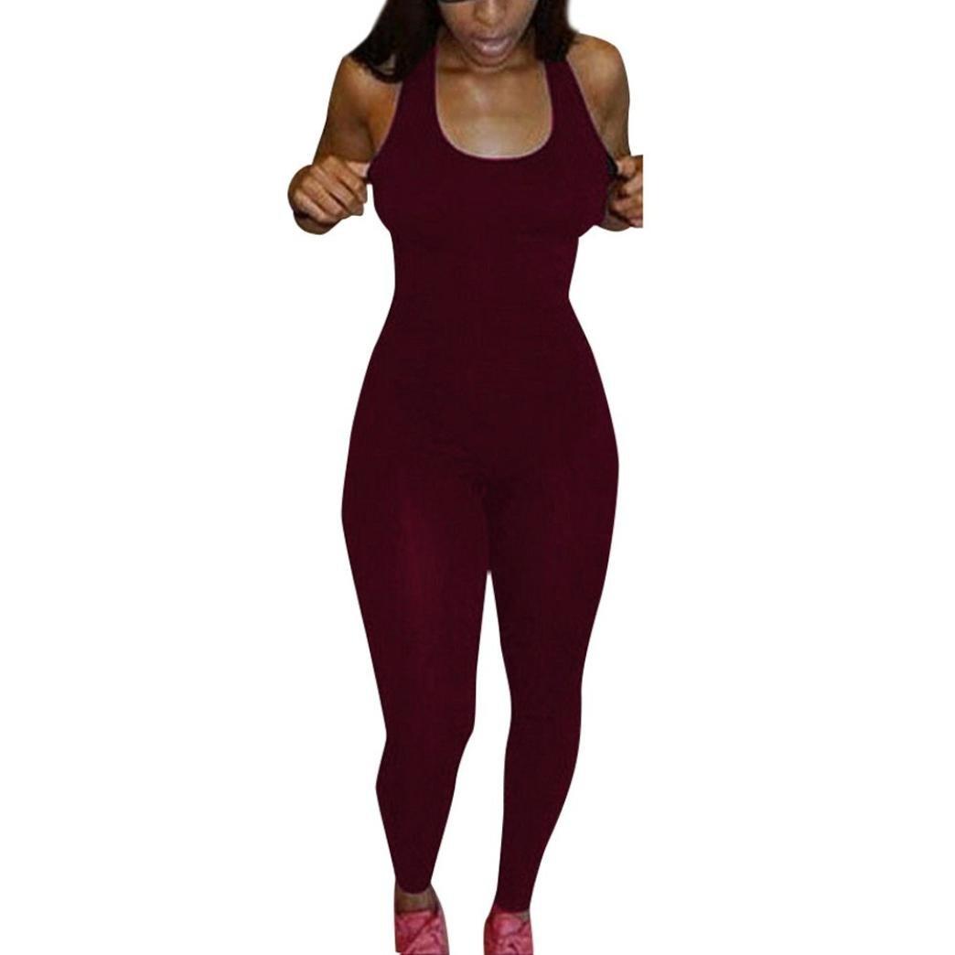 Clode Women Tracksuit, 1PC Women Casual Sleeveless Bodycon Romper Jumpsuit Club Bodysuit Long Pants