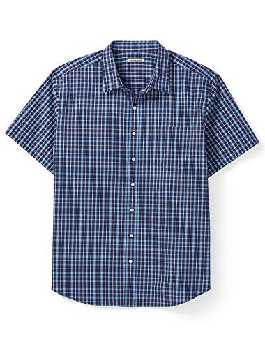 Amazon Essentials Men's Big & Tall Short-Sleeve Plaid Shirt fit by DXL, Navy, 4X