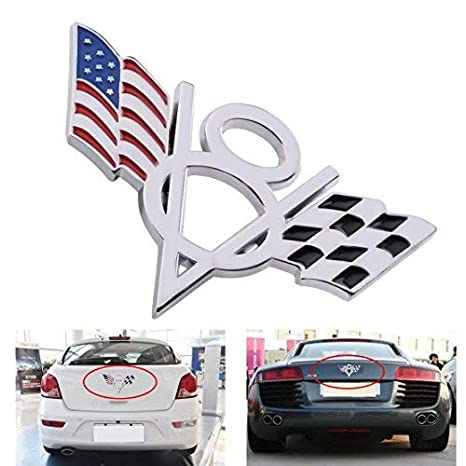 Checkered Flag VW >> Ddv Us Car 3d Metal V8 American Checkered Flag Styling