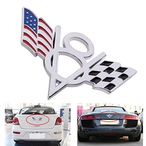 DDV- US - Car 3D Metal V8 American & Checkered Flag Styling Emblem Badge Sticker Decal for Ford Buick Mazda Lada Nissan Audi VW - Badges Checkered