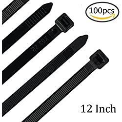 12 Inch Heavy Duty Zip Ties with 120 Pounds Tensile Strength, 100 Pieces, Plastic Cable Ties with 0.3 Inch Width, Nylon Wire Wraps in Black and White for Indoor and Outdoor Use, UV Resistant