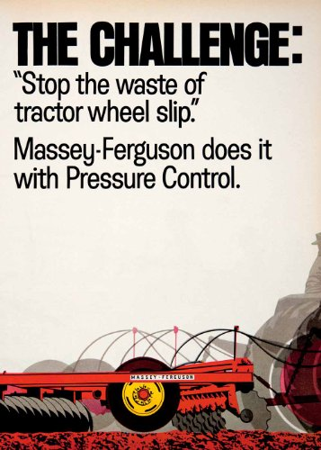 1968 Ad Massey Ferguson Tractor Plow Attachment MF 180 175 Row Crop Farming - Original Print Ad Massey Ferguson Plow