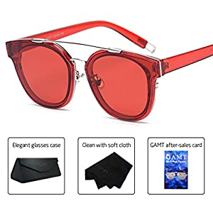 GAMT Fashion Twin-Beams Classic Sunglasses for women and men Unisex Brand Designer Glasses Red frame red
