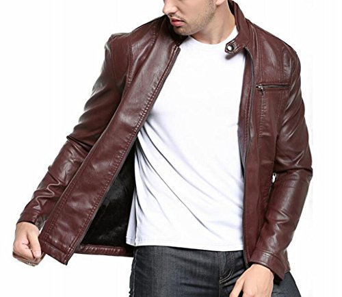 ouxiuli Men's Casual Long-sleeves Slim Motorcycle Zipper Faux Leather Jacket Wine Red L
