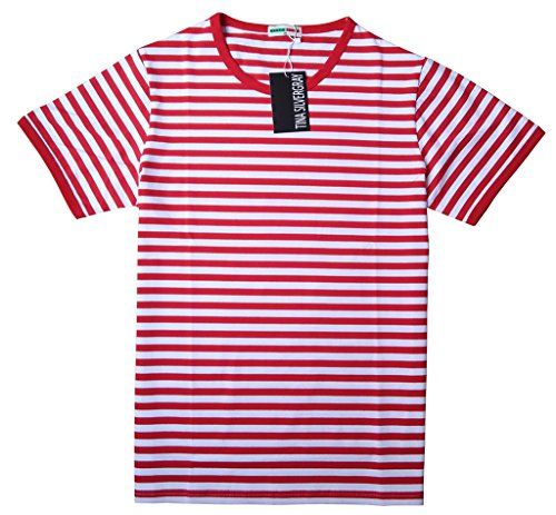 [Men's Short Sleeve Crew Neck Cotton Stripe Tee Shirt,Red,Medium / label XL] (Pugsley Addams Costume)
