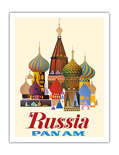 Russia - Pan American World Airways - Saint Basil's Cathedral, Moscow - Onion Domes - Vintage Airline Travel Posterc.1965 - Fine Art Print - 20in x 26in ()