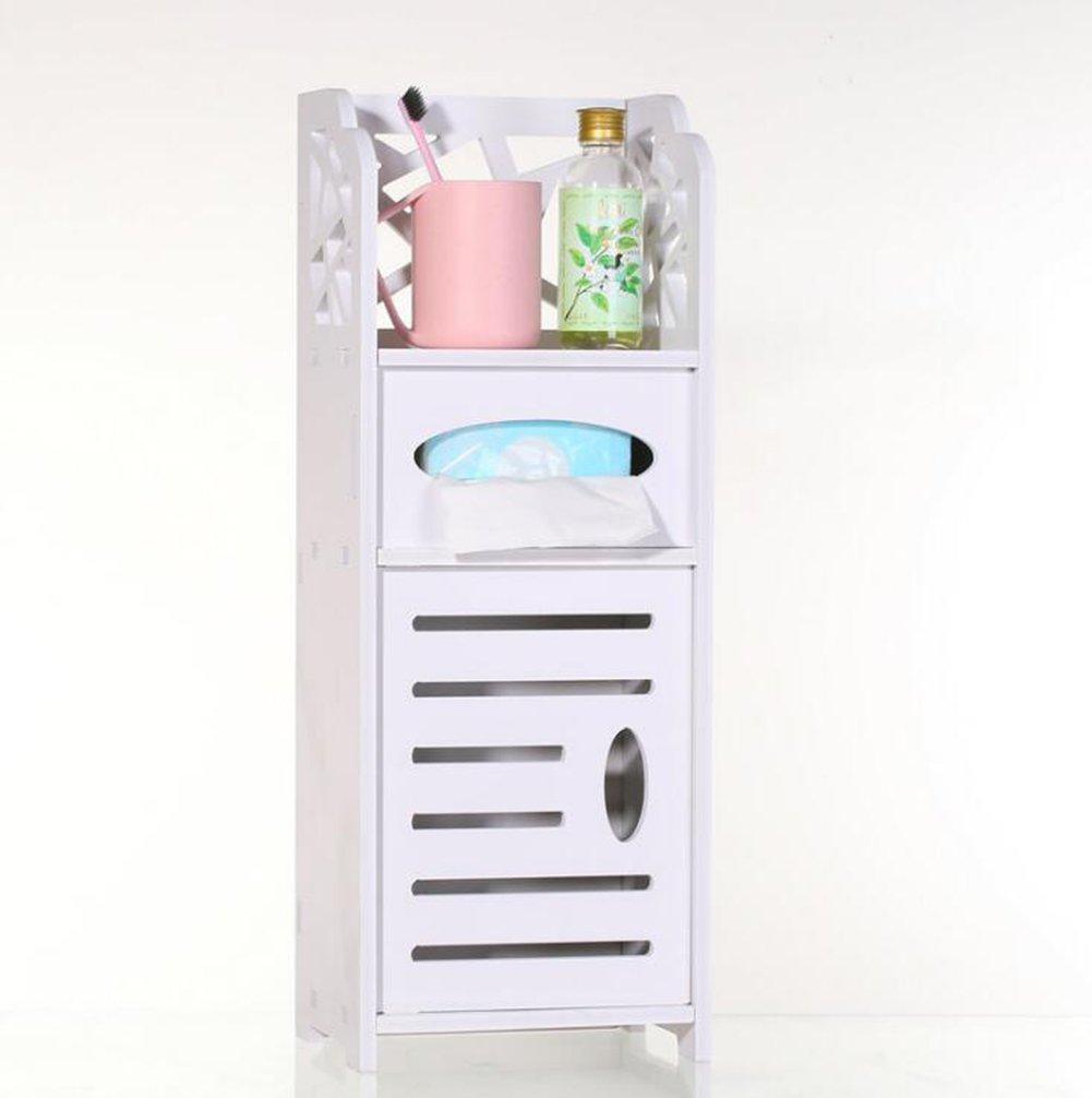KIMSAI Bathroom Storage Rack,Home Hotel Toiletries Shelf Creativity Paper Towel Holder Multifunction Practical Type PVC Wood Plastic Board