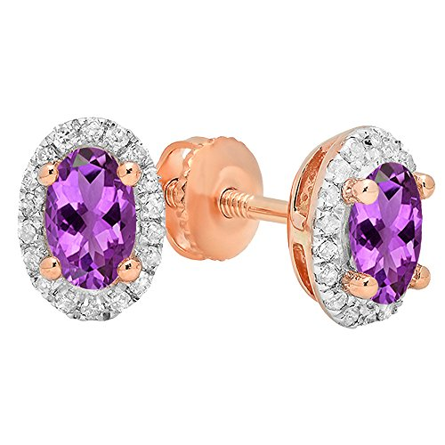 14K Rose Gold 7X5 MM Each Oval Amethyst & Round White Diamond Ladies Halo Stud Earrings