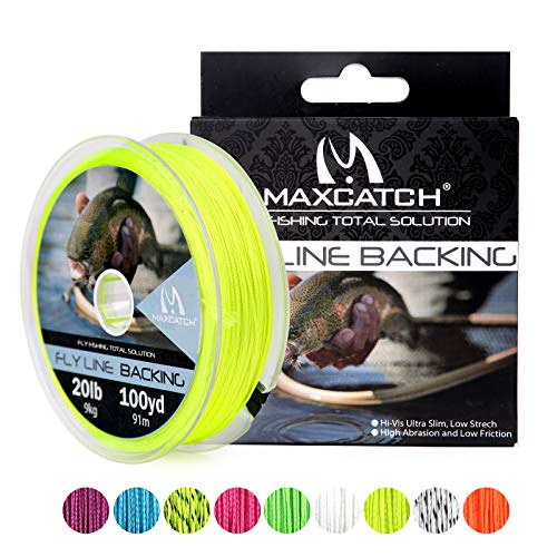 (M MAXIMUMCATCH Maxcatch Fly Line Backing for Fly Fishing Braided 20/30lb 100yards (Yellow,)