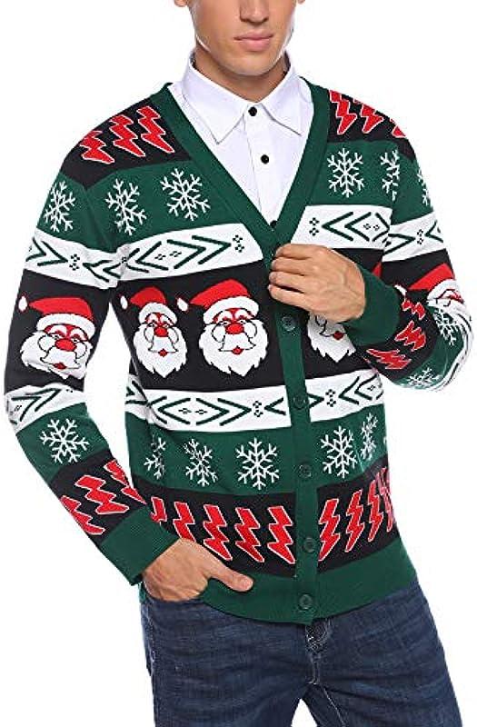 iClosam męska kurtka z dzianiny, bożonarodzeniowy sweter zimowy, kardigan z dekoltem w kształcie litery V, sweter z dzianiny ciepły i slim-fit sweter na Boże Narodzenie: Odzież