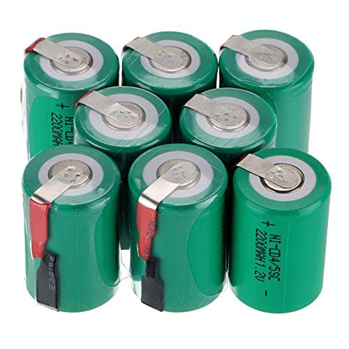WindMax® US SELLER Green Color 8 PCS 1.2V 2200mAh Ni-Cd NiCd Rechargeable Battery Batteries 4/5 Sub C SC with Tabs