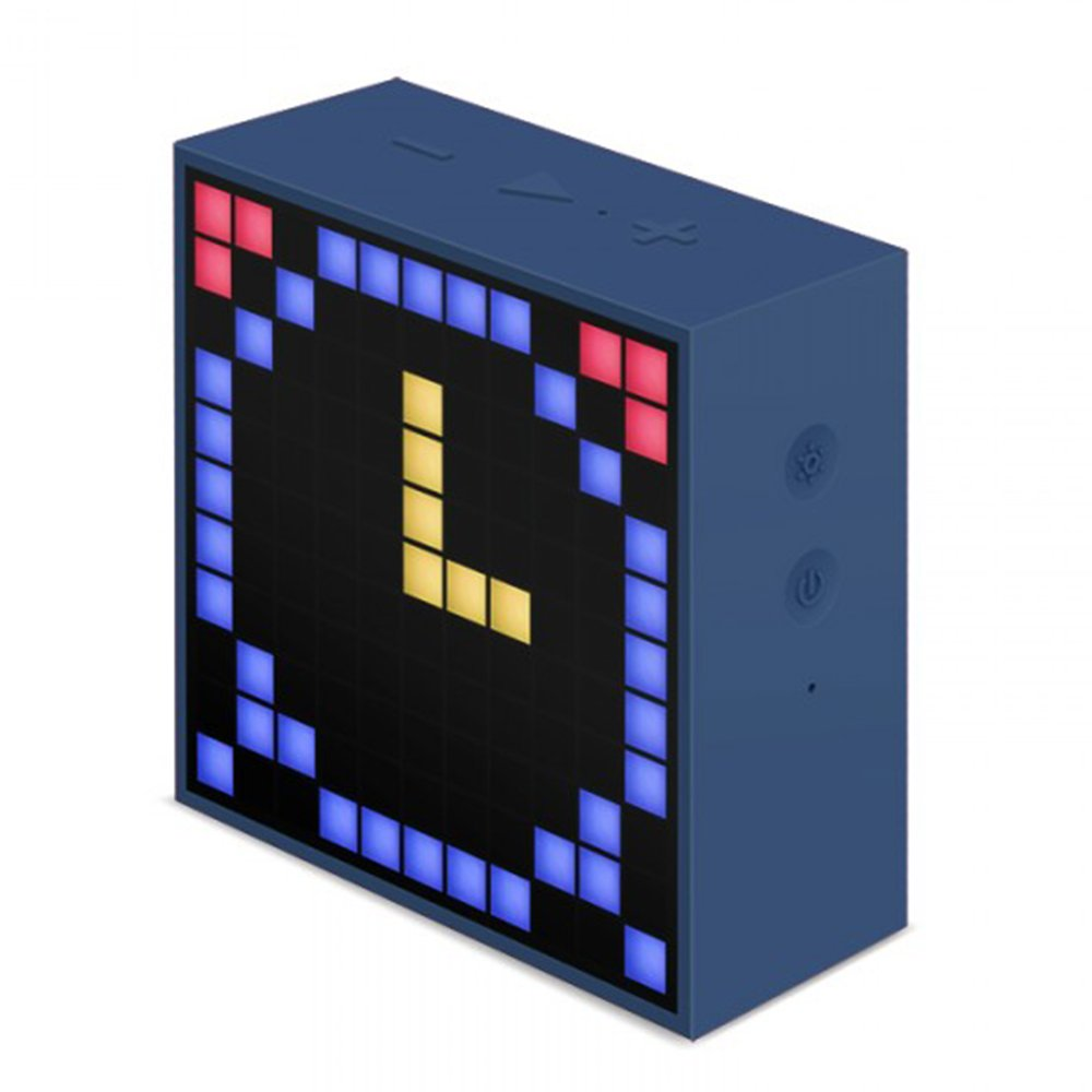 Divoom Timebox- Mini Altavoz inteligente, Reloj despertador Bluetooth para IOS/Android, azul