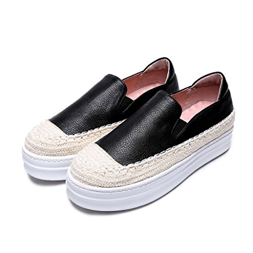 Espadrillas Leather Plateau Roseg Nero Donna xFqOHOX