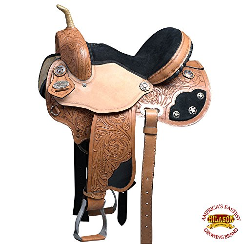 HILASON 14 WESTERN FLEX TREE BARREL RACING TRAIL RIDING LEATHER HORSE SADDLE