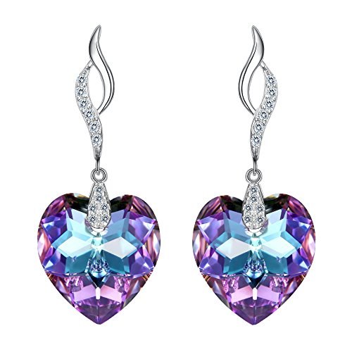 EleQueen 925 Sterling Silver CZ Love Heart Leaf Ribbon Drop Earrings Vitrail Light Made with Swarovski Crystals