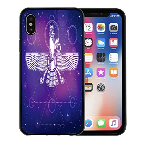 Semtomn Phone Case for iPhone Xs case,Ancient Assyrian Winged Deity Character of Sumerian Mythology Esoteric Symbol Sacred Geometry The Night for iPhone X Case,Rubber Border Protective Case,Black