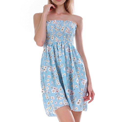 DOGZI Vestido Mujer Verano Mini Vestido Casual sin Mangas de Playa de Impresión Retro de Mujeres Vestido de Playa Niña Vestido de Fiesta Vestir Ropa Falda Chaleco Camisetas Azul Cielo