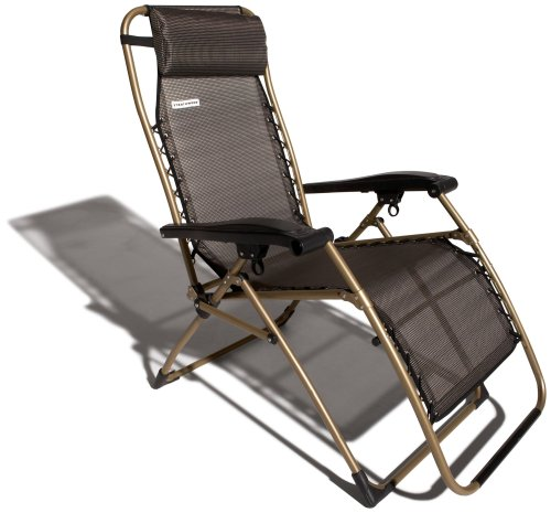 Strathwood Basics Anti-Gravity Adjustable Recliner Chair, Dark Brown with Champagne Frame