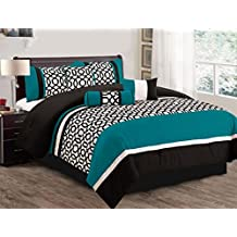 7 Piece Comforter set Reversible Bed In a Bag with accent pillow Vanguard Collection (King, Teal)