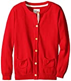 Scout + Ro Little Girls' Button-Front Cardigan Sweater, Red, 4