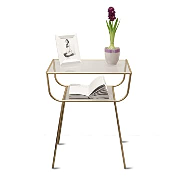 Xue Bedside Table Bedside Table, Nordic Modern Creative Simple Metal Glass Desktop Wrought Iron Rack by Xue