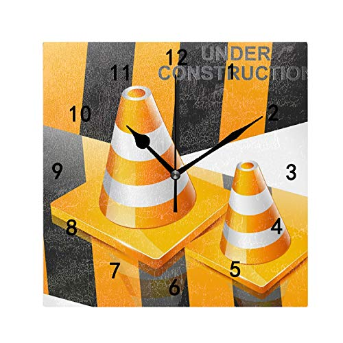 OMWEED Personalized Under Construction Wall Clock Funny Novelty Home Decor Wall Art Wall Clocks 7.87 Inches