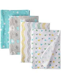 Unisex Baby Cotton Flannel Receiving Blankets, Basic Elephant, One Size