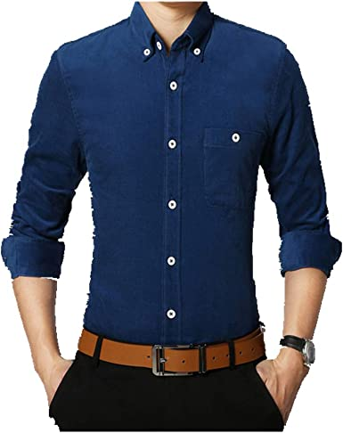 U/A Camisa de manga larga para hombre, color caramelo, camisa ...