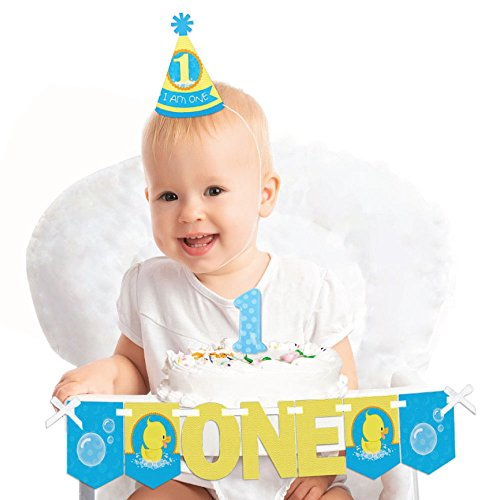 Big Dot of Happiness Ducky Duck - 1st Birthday Boy or Girl Smash Cake Decorating Kit - High Chair (Everything One Girl Cone Hats)