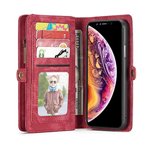 - Rucan New CASEME for Apple iPhone Xs MAX 6.5 inch 2-in-1 14 Slots Wallet Zip Leather Case (D)