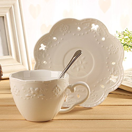 Christmas Tablescape Décor - White vintage style lace embossed tea cup set with butterfly cut-outs - Set of 6