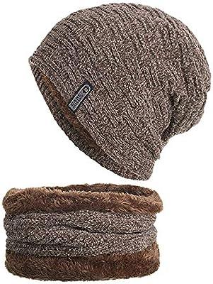 1dcadeb20ac2e Amazon.com  Longay 2-Pieces Winter Beanie Hat Scarf Set Warm Knit Hat Thick  Knit Skull Cap Unisex (Khaki)  Arts