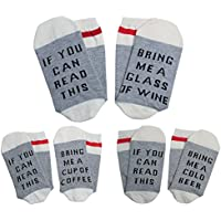 [Patrocinado] Fun Socks For Men And Women, Qmifun Cotton Crew Bring Me A Glass Of Wine Socks, 3 Pack,5-11