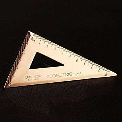 SODIAL Thickness 0.08inch Super Durable Brass Set Square Triangle-Ruler Stationery Math G