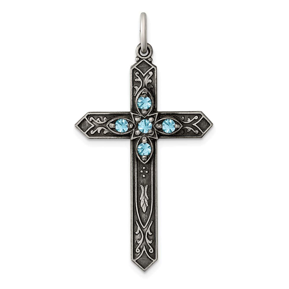 22mm x 37mm Solid 925 Sterling Silver March Simulated Birthstone Cross Pendant