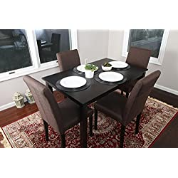 5 PC Chocolate Brown Canvas Linen 4 Person Table and Chairs Brown Dining Dinette - 150255 Chocolate Brown Parson Chair