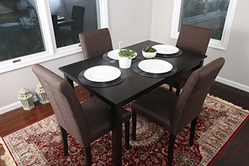 5 PC Chocolate Brown Canvas Linen 4 Person Table and Chairs