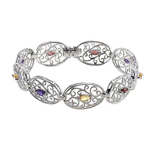 De Buman Genuine Multi-colored Gemstones 925 Silver Bracelet