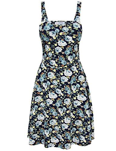 Tam Articles Womens Marine Floral Robe Patineuse Sangle Réglable D'impression