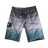 NUWFOR Men's Fashion Casual Printing Patchwork Beach Surfing Swimming Loose Short Pants(Gray,US S Waist:30.7'')