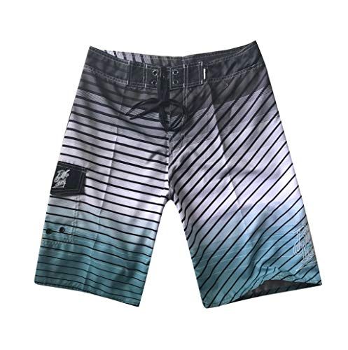 NUWFOR Men's Fashion Casual Printing Patchwork Beach Surfing Swimming Loose Short Pants(Gray,US S Waist:30.7'') by NUWFOR (Image #7)