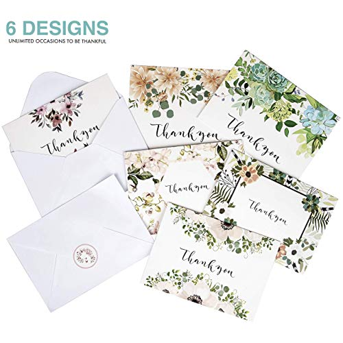 Thank You Cards: Vintage Floral Bulk Set of Blank Note Cards for Wedding, Bridal or Baby Shower, Teacher, Birthday Card, Business Notes and More - Assorted Pack with Envelopes and Cute Stickers Inside Photo #8