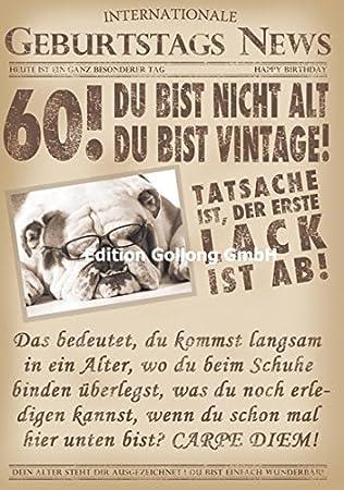 Gluckwunschkarte Zum 60 Geburtstag Du Bist Nicht Alt Du Bist