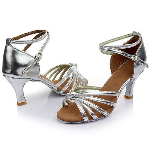 ballo Satin Colour Heel Samba Q T Ballroom Argento Leatherette per T Customized Scarpe donna bambina da More Silver da Ixawpn6
