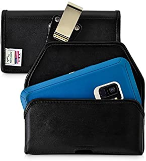 product image for Turtleback Belt Case Compatible with Samsung Galaxy S9 w/OB Defender case Black Holster Leather Pouch with Heavy Duty Rotating Ratcheting Belt Clip Horizontal Made in USA