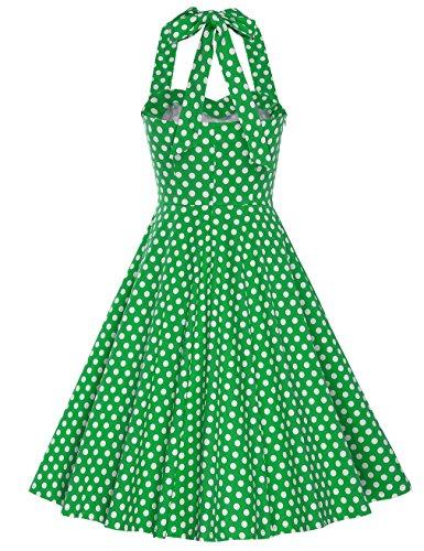 MUXXN Falda de Oscilacion Estampada Punto de la Onda de Verano de Correa Retro para Mujer Green Big Dot